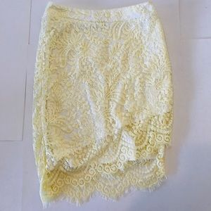 Tobi Lace Skirt Yellow Asymmetrical Lined